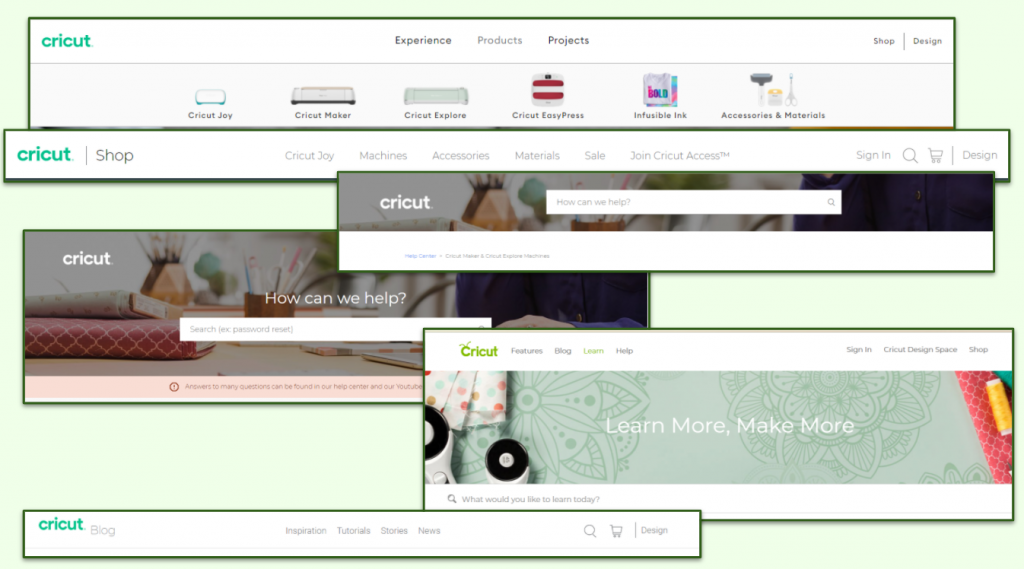Picture showing a variety of headers on the site.