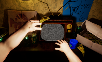 Screenshot of game showing hands in front of TV